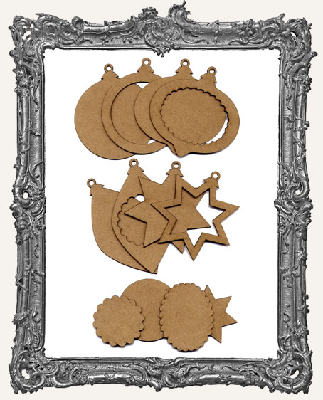 Layered Chipboard Ornaments - Set of 4