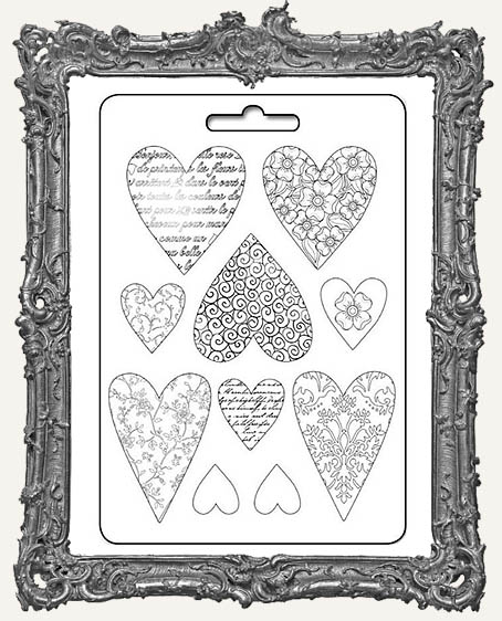 Stamperia A4 Soft Maxi Mould - Textured Hearts