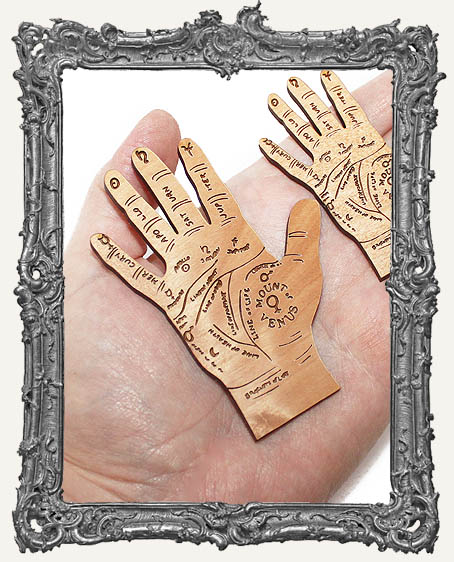 Palm Reading Hands Engraved Wood Cut Outs - Flat Bottoms