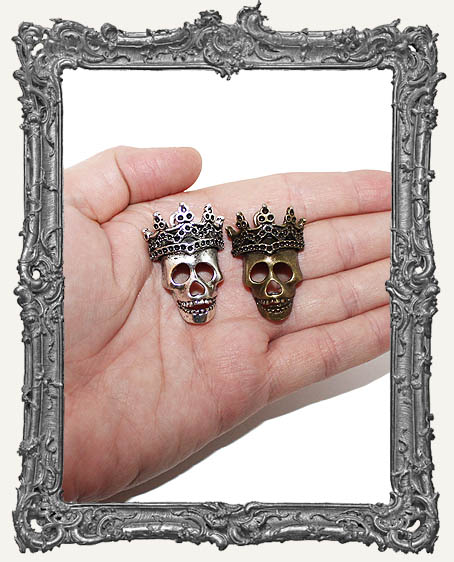 Large Ornate Antique Silver or Bronze Crowned Skull Charm