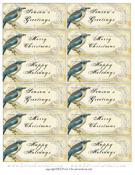 Blue Bird Tag Greetings Collage Sheet by Debrina Pratt - DP255