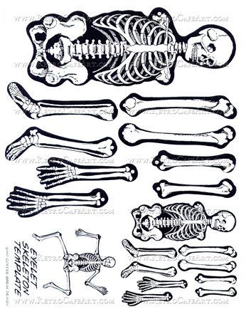 skeleton template to cut out - vintage halloween skeleton paper piecing dolls digital