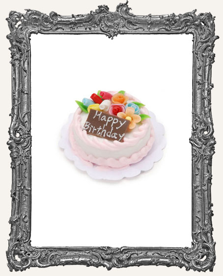 Miniature Happy Birthday Cake - 1 inch