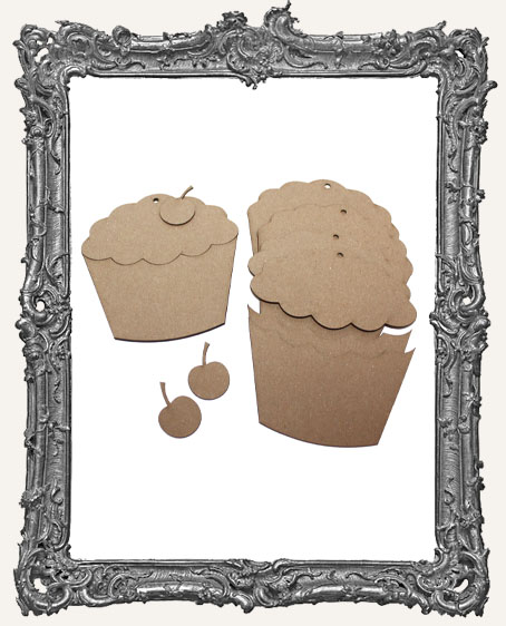 Layered Chipboard Cupcake Tags - Set of 3