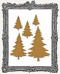 Chipboard Pine Tree Cut-Outs - Style 1 - 5 Pieces