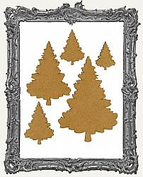 Chipboard Pine Tree Cut-Outs - Style 2 - 5 Pieces
