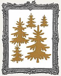 Chipboard Pine Tree Cut-Outs - Style 3 - 5 Pieces