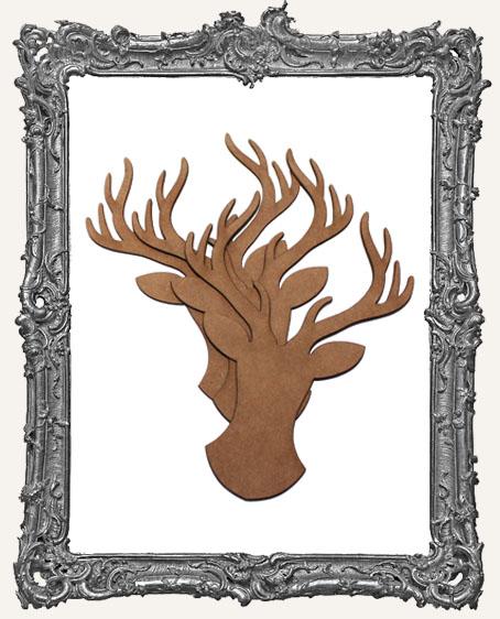 Chipboard Deer Heads - Set of 3