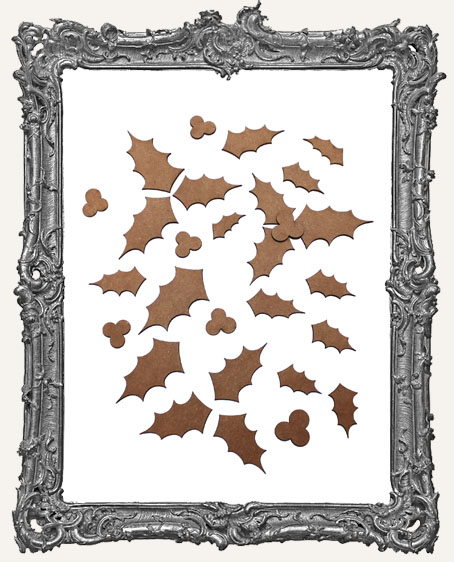 Holly Leaves and Berries Cut-Outs - 31 Pieces