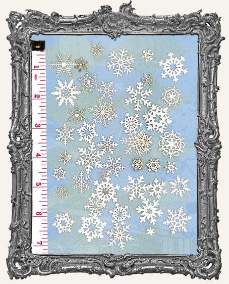 48 White Snowflake Paper Cuts