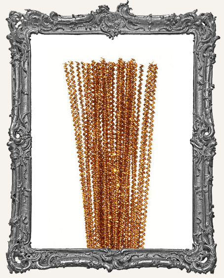 Mini Wired Tinsel Stems - 3mm - Gold - 35 pieces