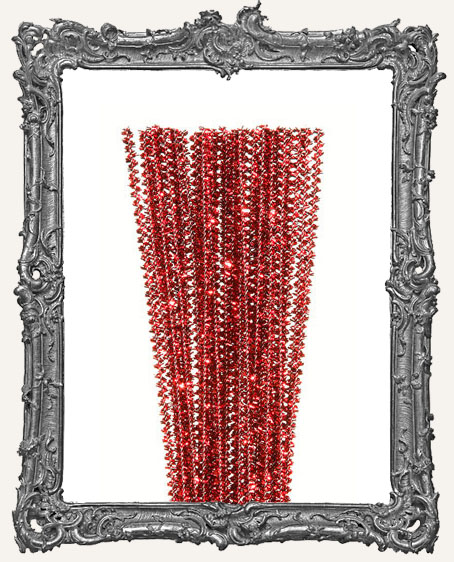 Mini Wired Tinsel Stems - 3mm - Red - 35 pieces
