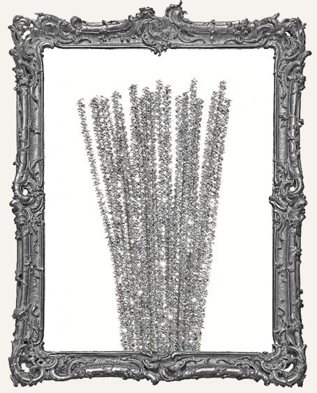 Mini Wired Tinsel Stems - 3mm - Silver - 35 pieces