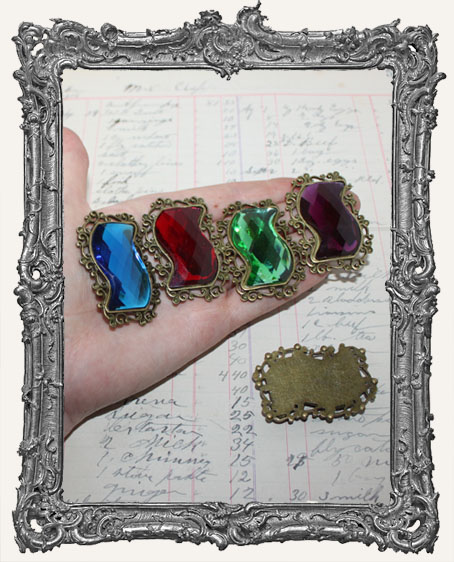 Large Antique Brass Jeweled Cabochon Charm