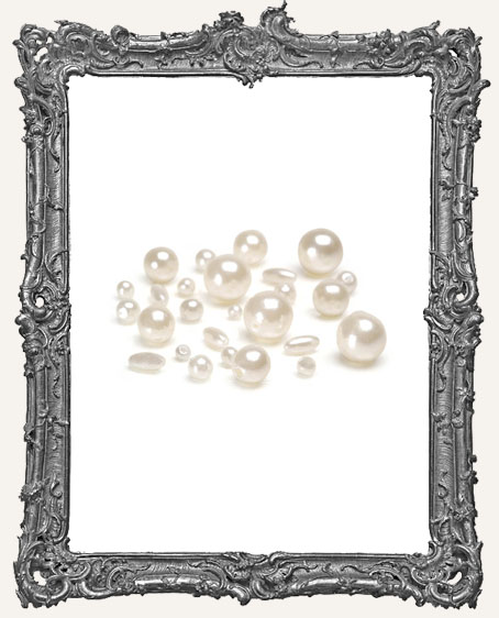 Pearls - Round - Cream - Assorted Sizes - 36 grams