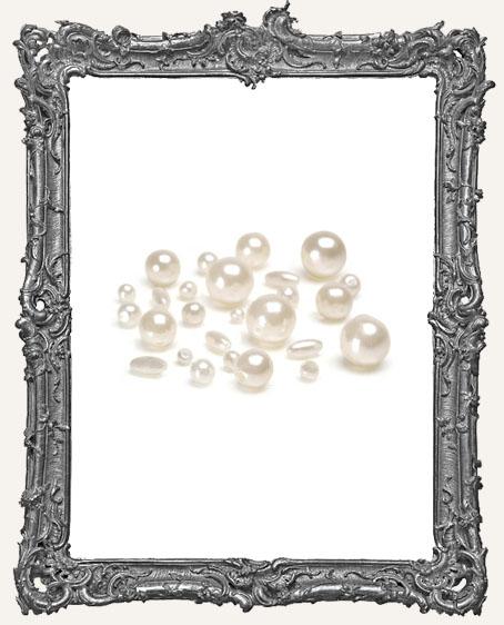 Pearls - Round - Cream - Assorted Sizes - 36 grams