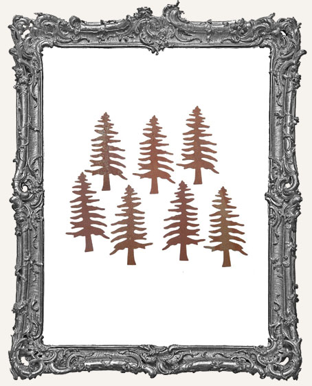 Rusted Tin Pine Tree - 2 inches - 2 pieces
