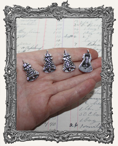 Antique Silver Christmas Bell Charms - Set of 4