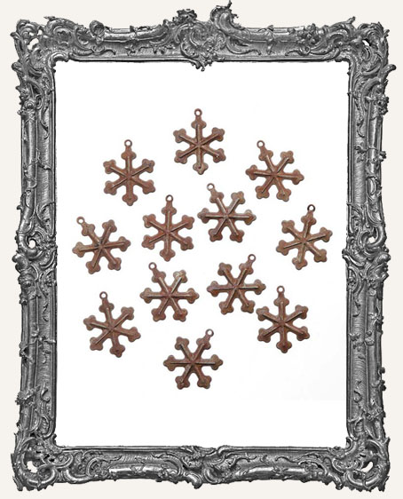 Rusted Tin Snowflakes - .75 - 12 pieces