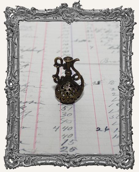Antique Brass Filigree Genie Bottle - Small