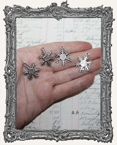 Antique Silver Snowflake Charms - Set of 4
