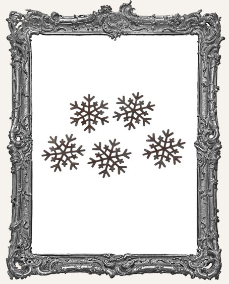 Rusted Tin Snowflakes - 1.5 inch - 5 pieces