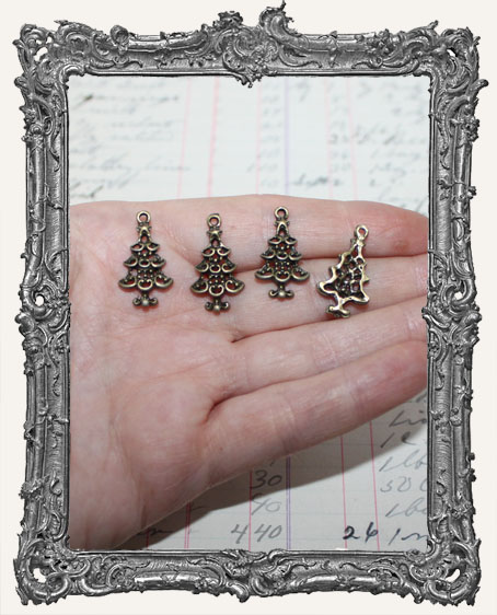 Antique Brass Christmas Tree Charms - Set of 4