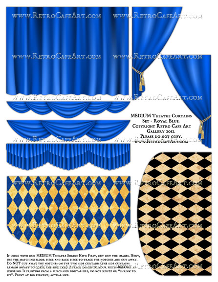 MEDIUM Theatre Curtains Set Collage Sheet - Royal Blue