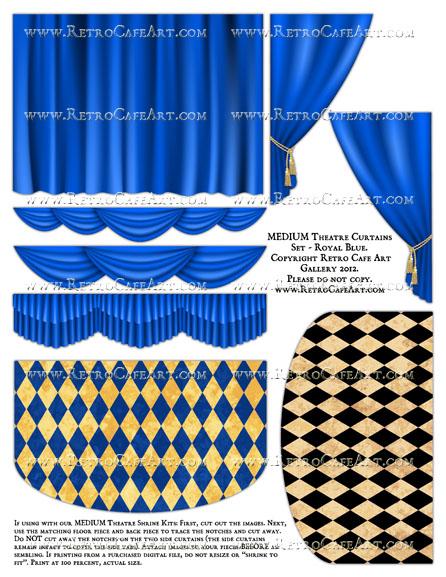 MEDIUM Theatre Curtains Set Collage Sheet - Royal Blue
