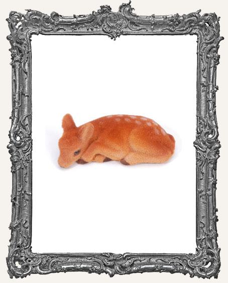 Flocked Brown Lying Deer - 2.5 inches - 1 piece
