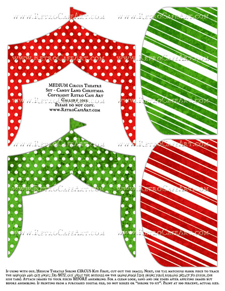 MEDIUM Circus Theatre Set Collage Sheet - Candy Land Christmas I