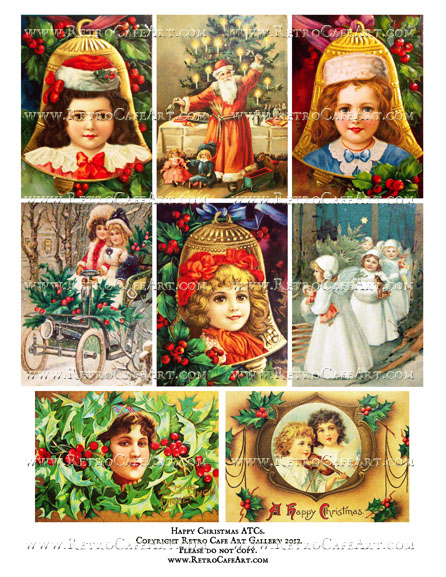 Happy Christmas ATCs Collage Sheet