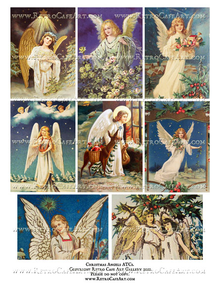 Christmas Angels ATCs Collage Sheet