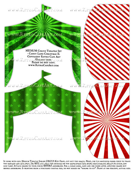 MEDIUM Circus Theatre Set Collage Sheet - Candy Land Christmas II