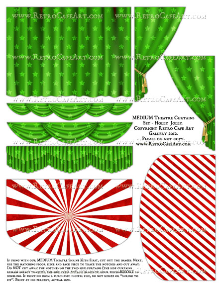MEDIUM Theatre Curtains Set Collage Sheet - Holly Jolly