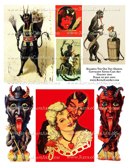 Krampus The Old Day Grinch Collage Sheet