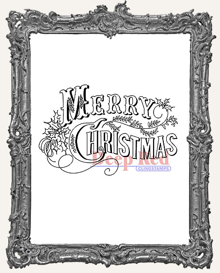 Vintage Merry Christmas Deep Red Cling Stamp