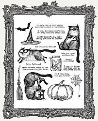 Tim Holtz - Cling Mount Stamps - Snarky Cat Halloween