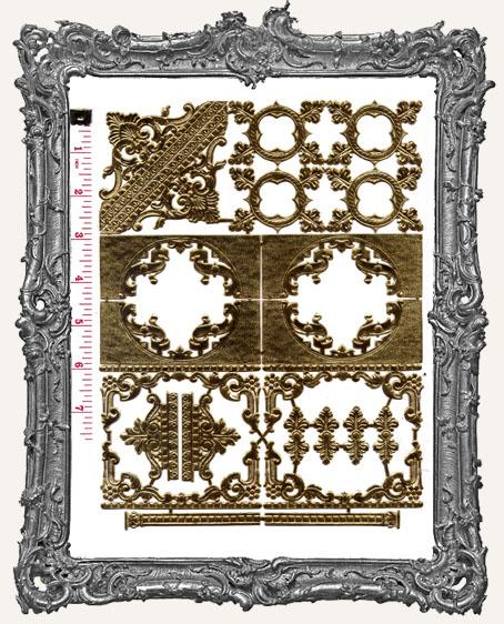 German Dresden GOLD Victorian Corners and Frames 24 Piece