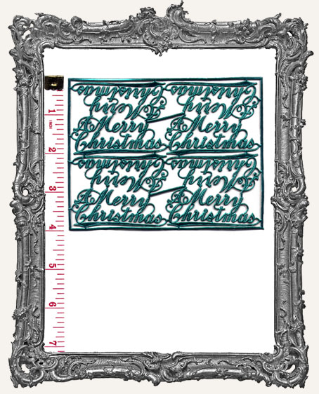 German Dresden GREEN A Merry Christmas Script 8 Pieces