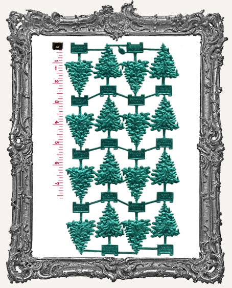 German Dresden Classic GREEN Christmas Trees 16 Pieces