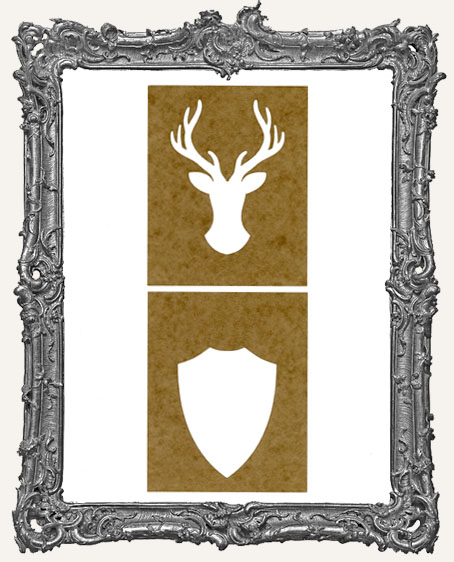 SMALL Deer Mount Stencil - Set of 2