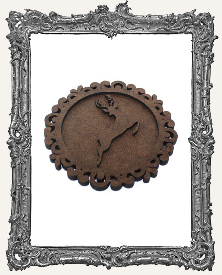 Layered Cameo Frame Silhouette Ornament - Reindeer