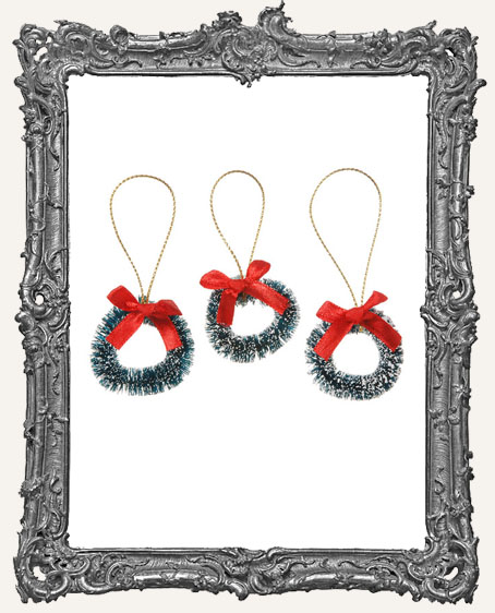 Mini Green Sisal Wreath with Frost and Red Bow - 1.5 inch - 3 pieces