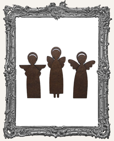 Small Primitive Angel Art Doll Cut-Outs - Tall - Set of 3