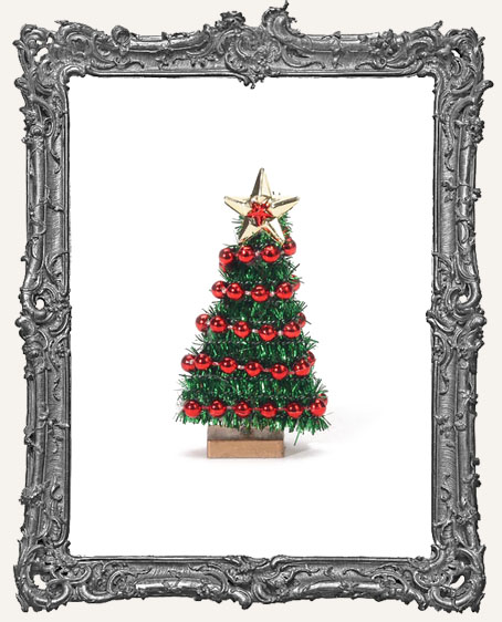 Miniature Tinsel Christmas Tree with Bead Garland