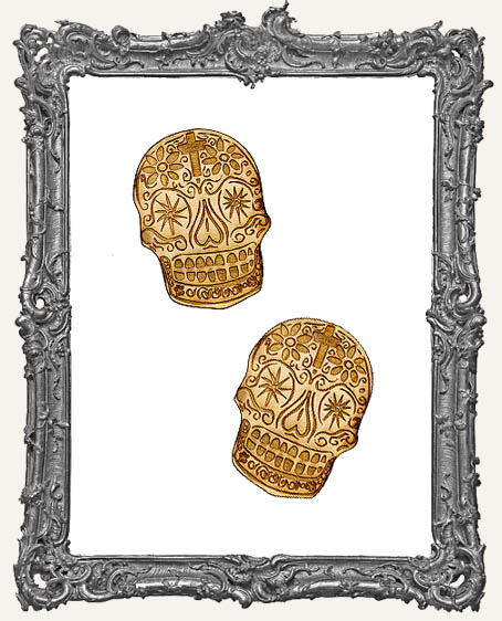 Engraved Sugar Skulls Small Magnet Size - Set of 2