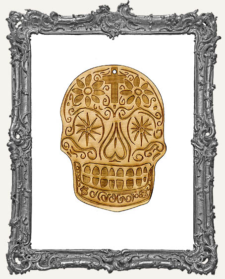 Engraved Sugar Skull Ornament