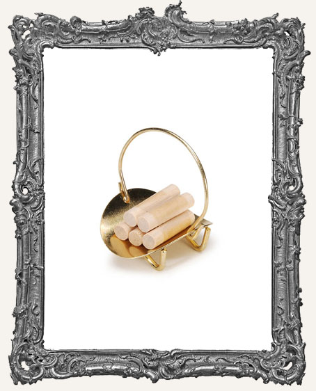 Miniature Brass Basket with Logs
