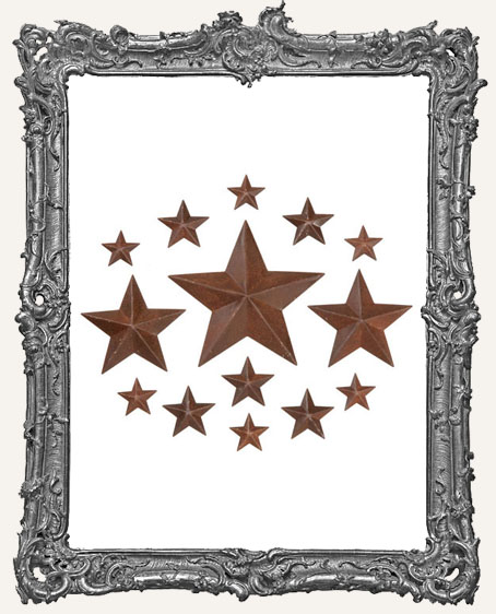 Rustic Tin Dimensional Stars Assortment - 14 Pieces
